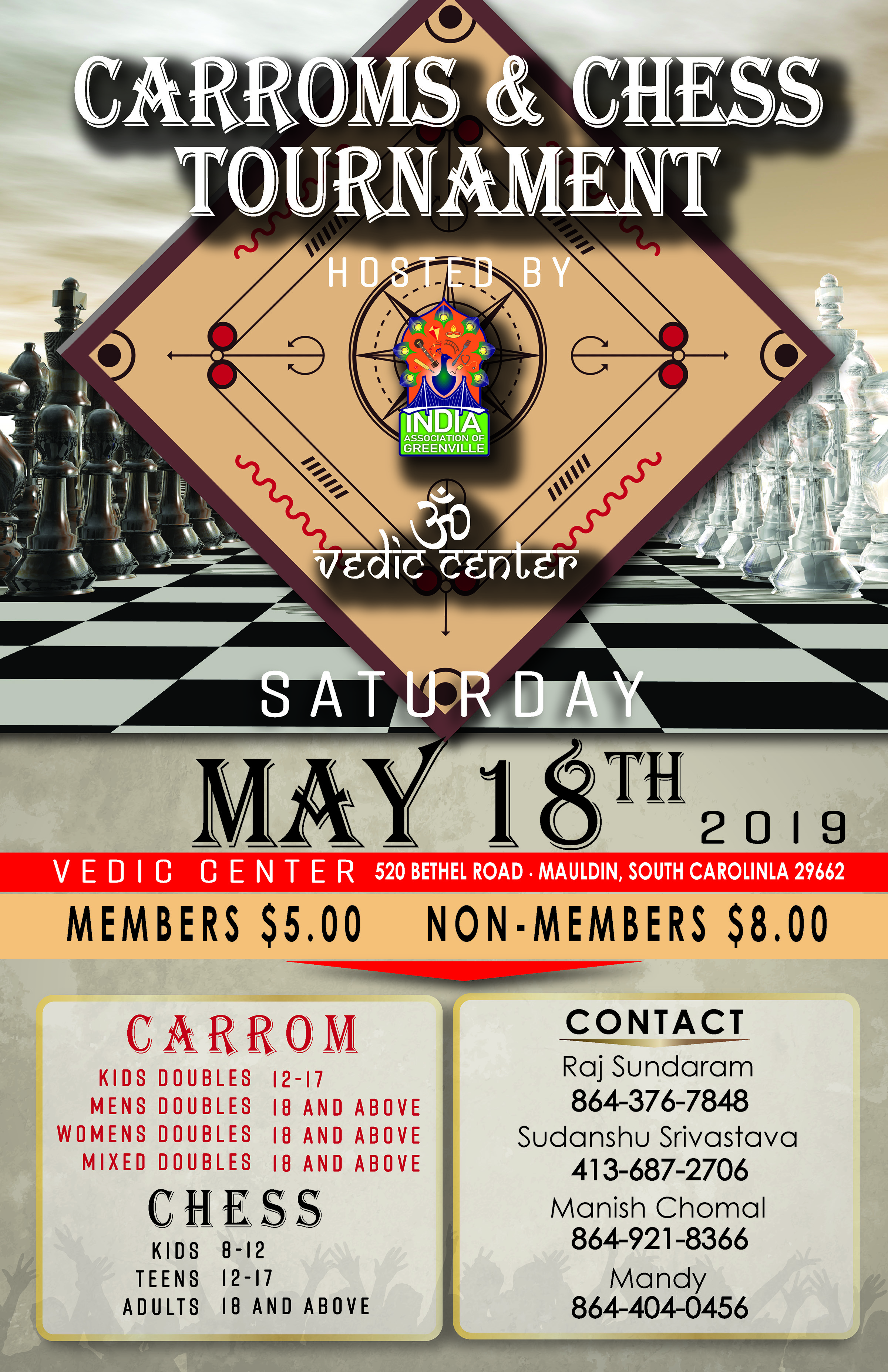 Carroms & Chess Tournament - May 18th